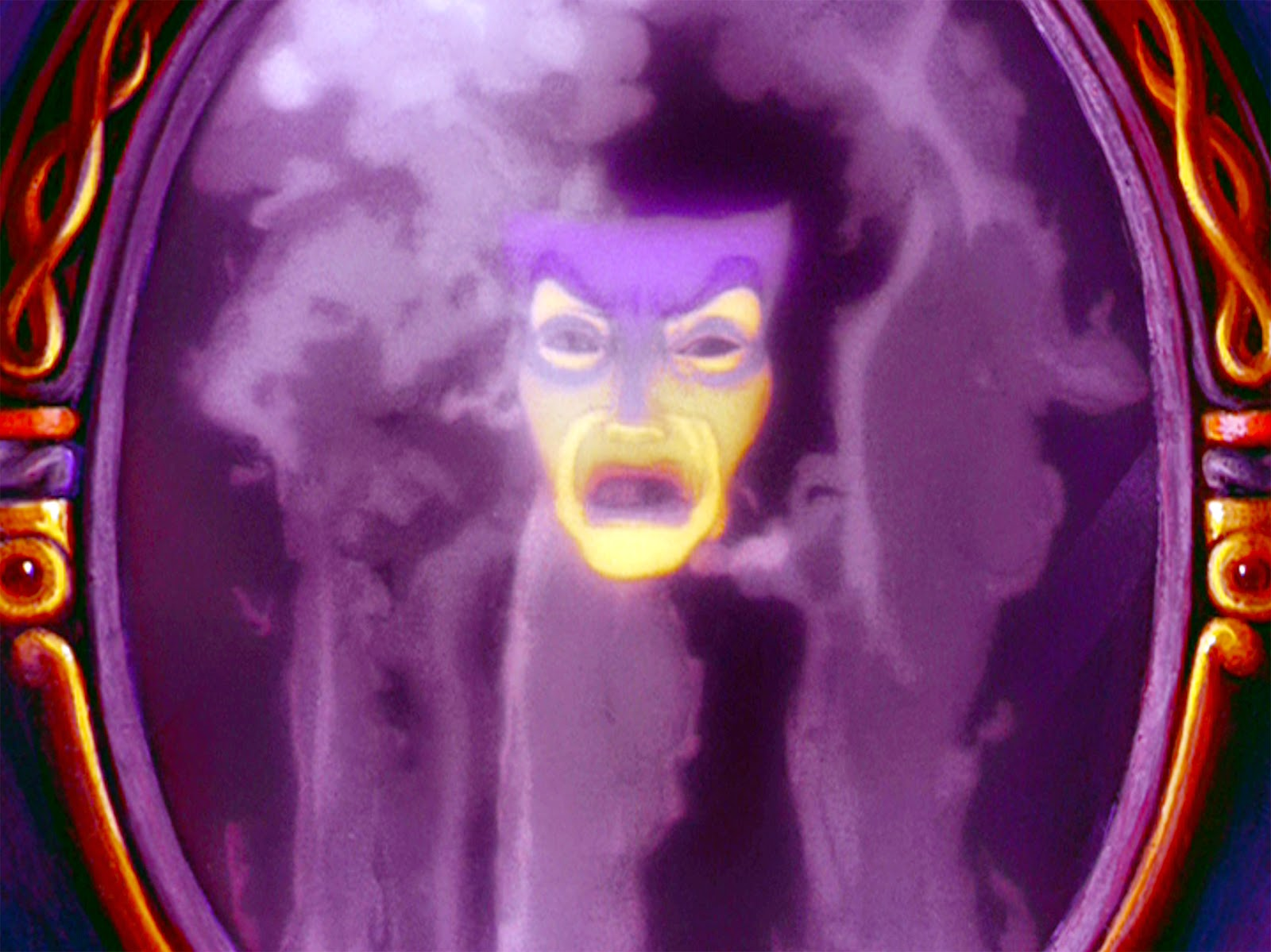 Magic mirror from snow white, showing a face in a haze of purple smoke.